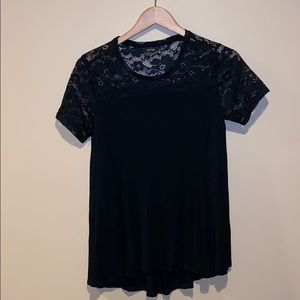 Black Lace Topped Short Sleeve Shirt